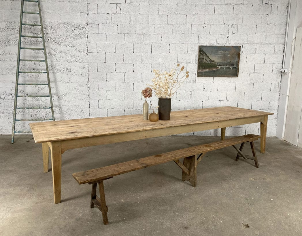 Ancienne table de ferme XXL en pin 12cm