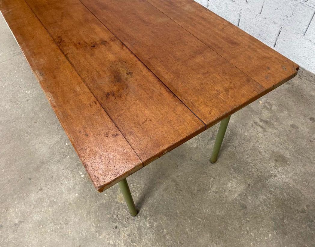 ancienne-table-refectoire-bois-tube-metallique-vintage-retro-5francs-5