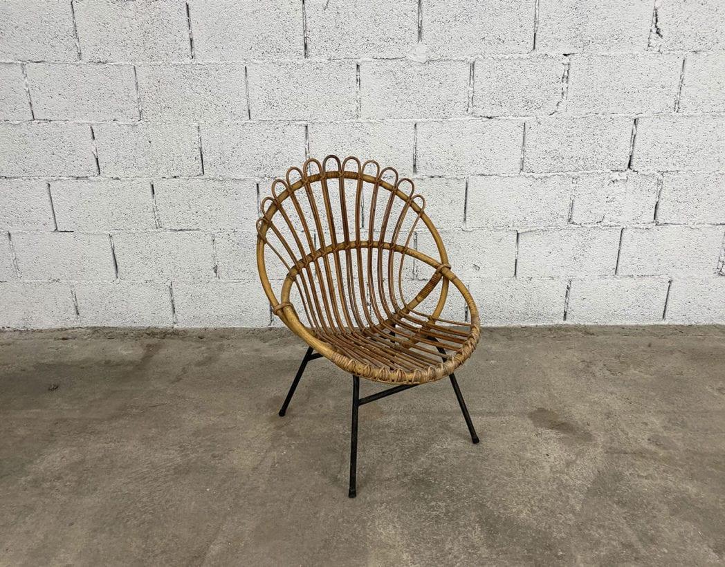 fauteuil-corbeille-couronne-rotin-osier-piétement-métal-noire-vintage-5francs-2