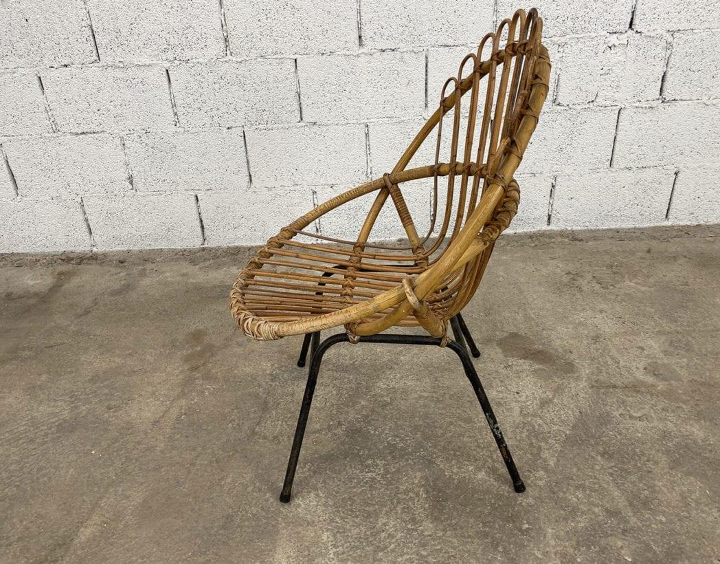 fauteuil-corbeille-couronne-rotin-osier-piétement-métal-noire-vintage-5francs-6