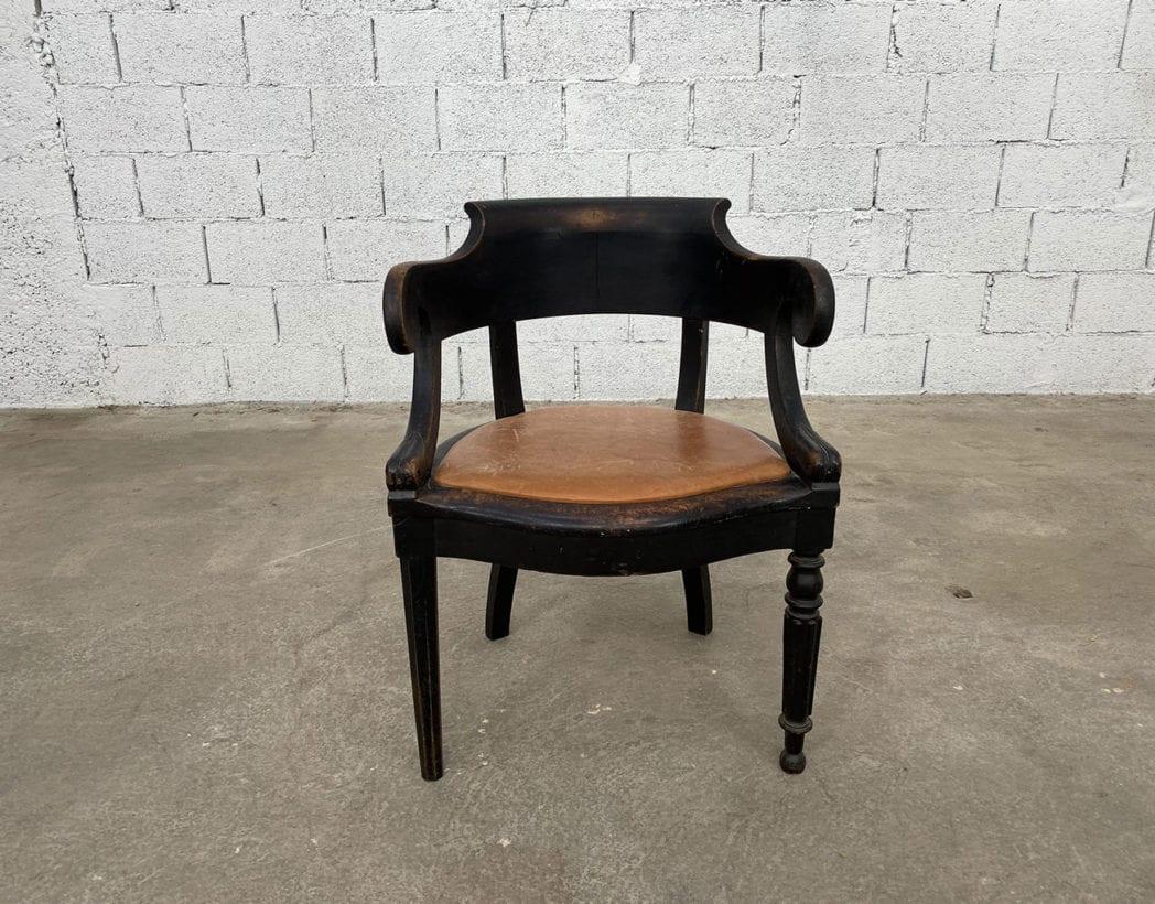 fauteuil-louis-philippe-bois-noir-cuir-cognac-patine-vintage-retro-5francs-2