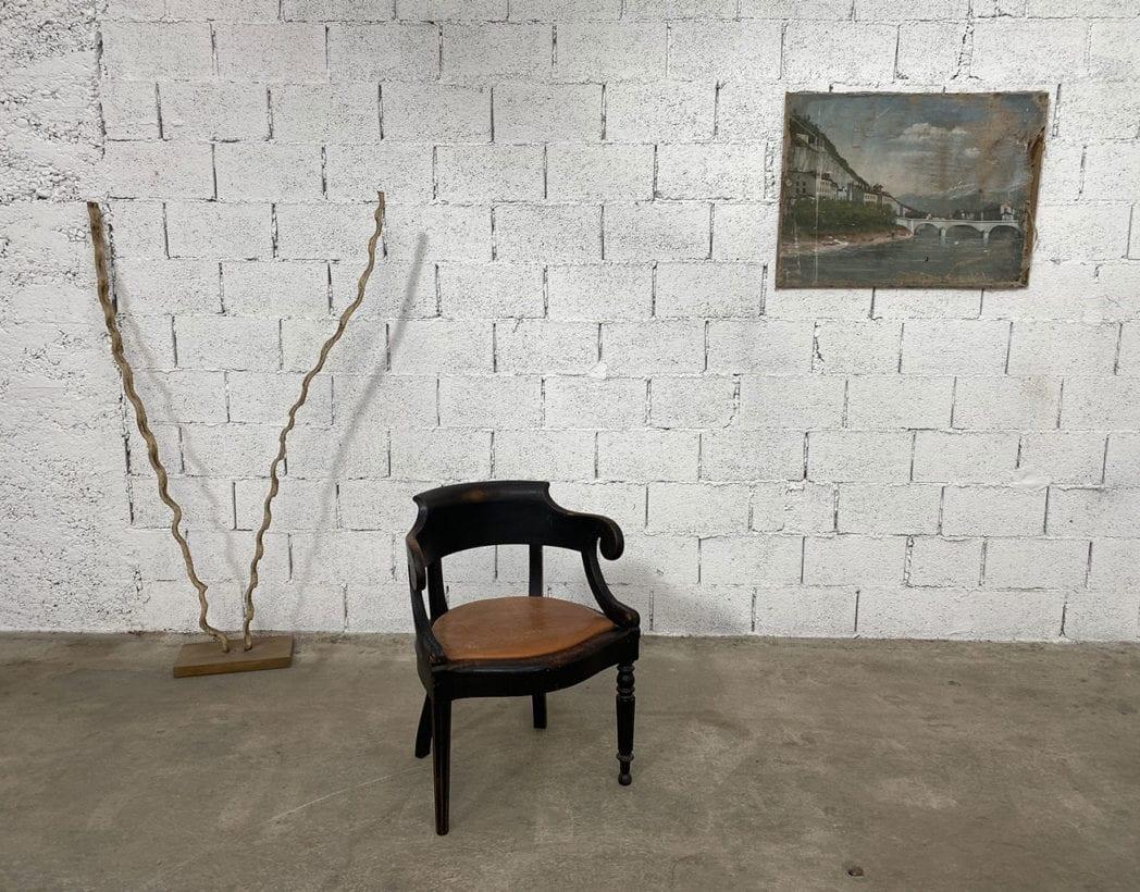 fauteuil-louis-philippe-bois-noir-cuir-cognac-patine-vintage-retro-5francs-7