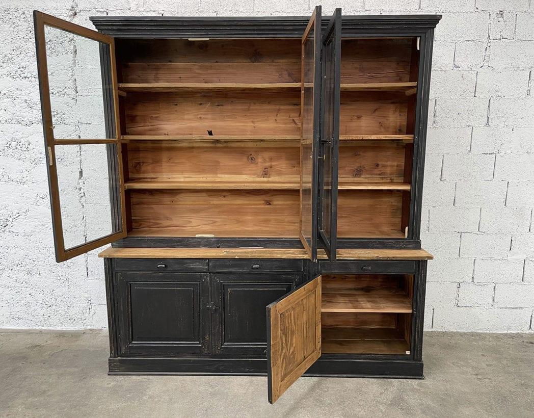 ancienne-bibliotheque-vitree-deux-corps-vintage-bois-patine-5francs-1