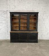 ancienne-bibliotheque-vitree-deux-corps-vintage-bois-patine-5francs (2)
