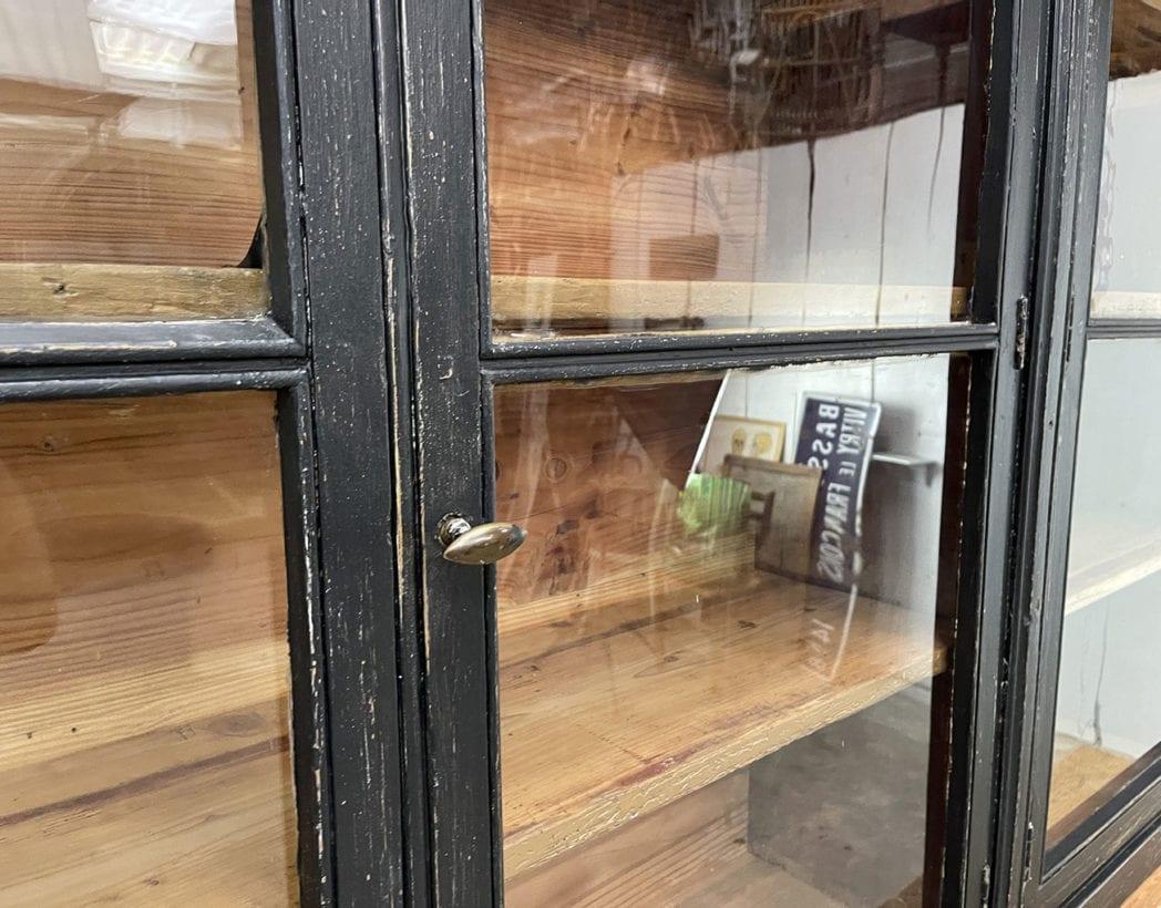 ancienne-bibliotheque-vitree-deux-corps-vintage-bois-patine-5francs-3