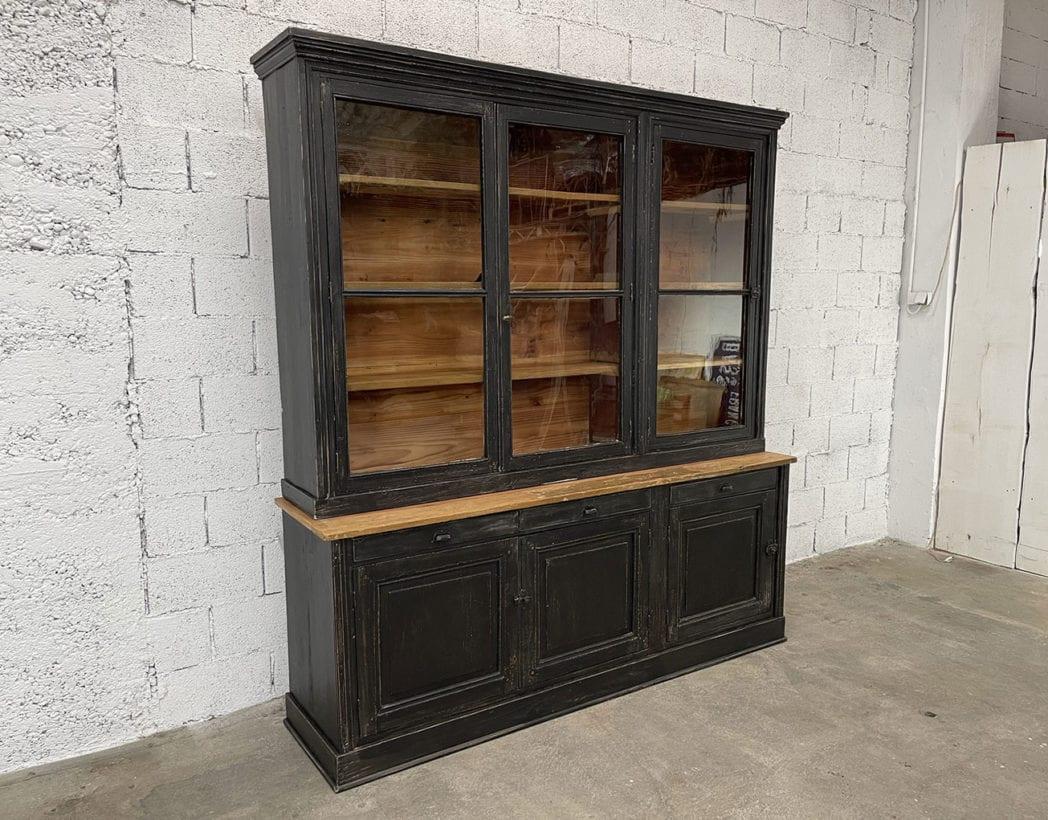 ancienne-bibliotheque-vitree-deux-corps-vintage-bois-patine-5francs (4)
