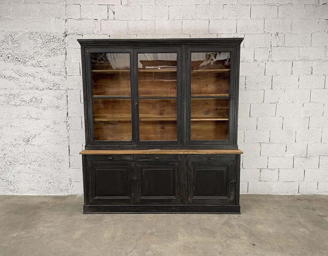 ancienne-bibliotheque-vitree-deux-corps-vintage-bois-patine-5francs-5