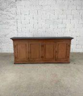 ancienne-enfilade-lie-de-vin-4portes-meuble-de-metier-bois-pin-vintage-5francs-1