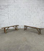 paire-bancs-anciens-art-populaire-pin-deco-rustique-vintage-5francs-1