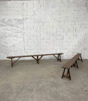 paire-bancs-anciens-art-populaire-pin-patine-foncee-deco-rustique-vintage-5francs-1